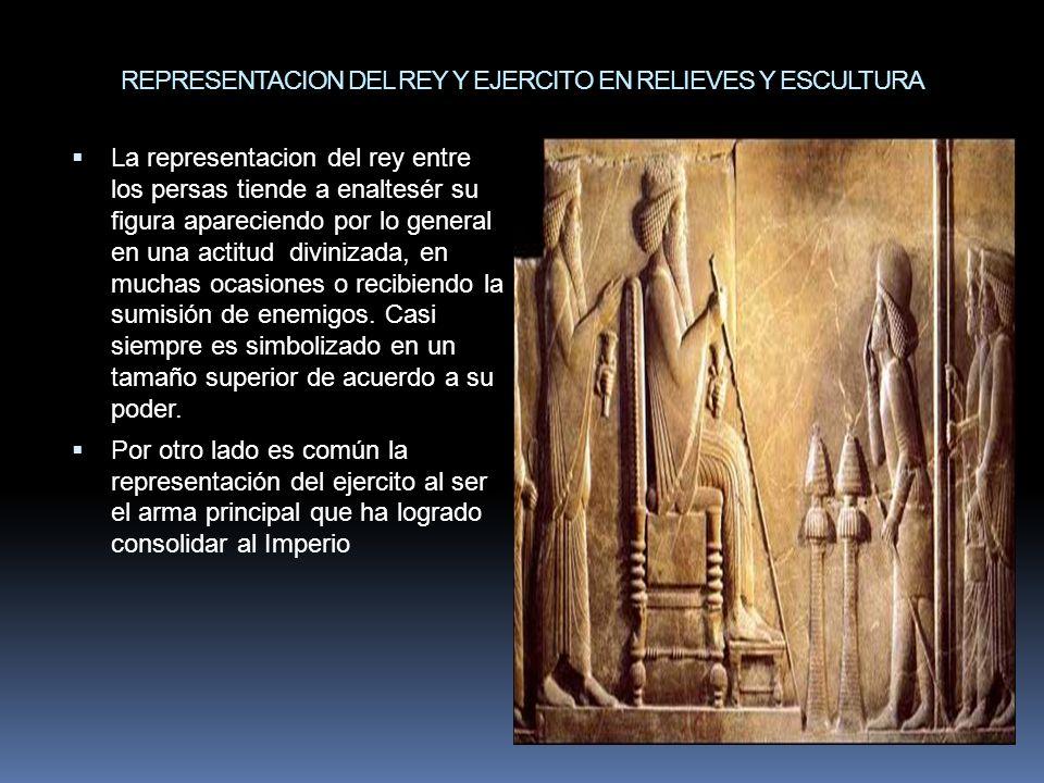La representacion del rey entre los persas tiende a enaltesér su figura apareciendo por lo general en una actitud divinizada, en muchas ocasiones o re