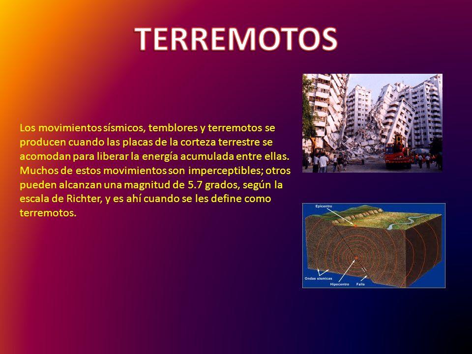 Los movimientos sísmicos, temblores y terremotos se producen cuando las placas de la corteza terrestre se acomodan para liberar la energía acumulada entre ellas.
