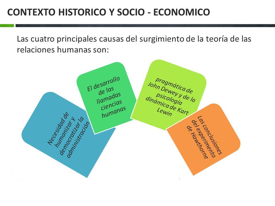 Las cuatro principales causas del surgimiento de la teoría de las relaciones humanas son: Necesidad de humanizar y democratizar la administración El d