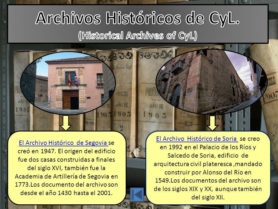 El Archivo Histórico de Segovia El Archivo Histórico de Segovia se creó en 1947.