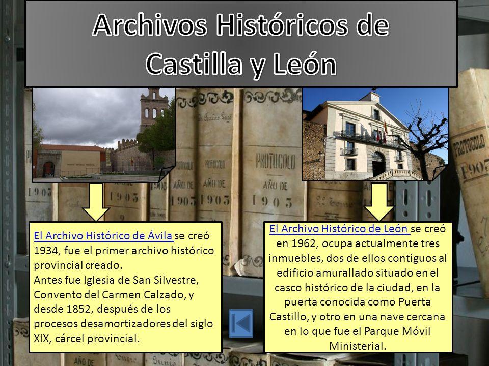 El Archivo Histórico de Ávila El Archivo Histórico de Ávila se creó 1934, fue el primer archivo histórico provincial creado.