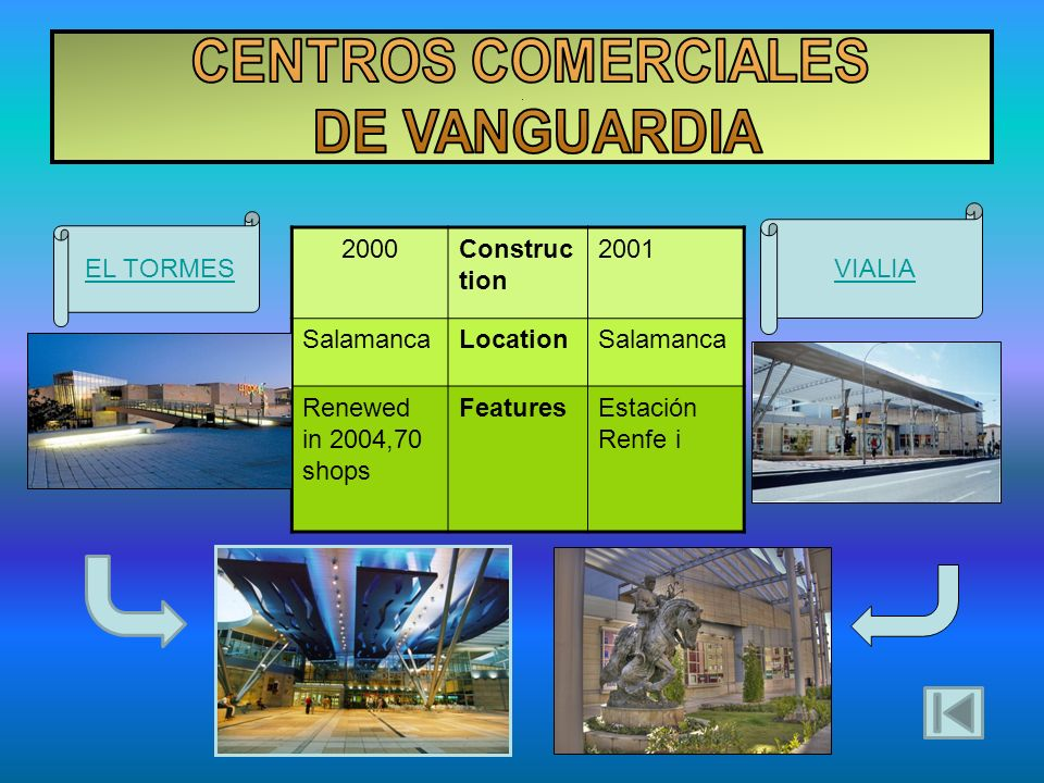 . 2000Construc tion 2001 SalamancaLocationSalamanca Renewed in 2004,70 shops FeaturesEstación Renfe i EL TORMES VIALIA