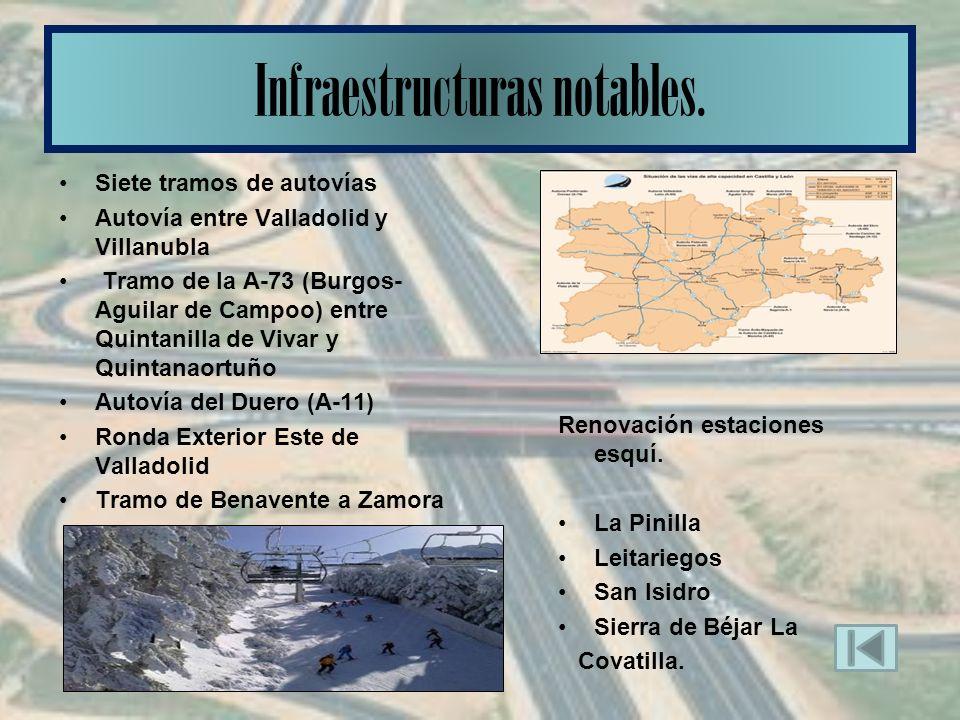 Siete tramos de autovías Autovía entre Valladolid y Villanubla Tramo de la A-73 (Burgos- Aguilar de Campoo) entre Quintanilla de Vivar y Quintanaortuño Autovía del Duero (A-11) Ronda Exterior Este de Valladolid Tramo de Benavente a Zamora Infraestructuras notables.