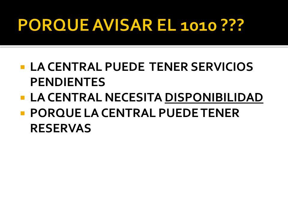 LA CENTRAL PUEDE TENER SERVICIOS PENDIENTES LA CENTRAL NECESITA DISPONIBILIDAD PORQUE LA CENTRAL PUEDE TENER RESERVAS