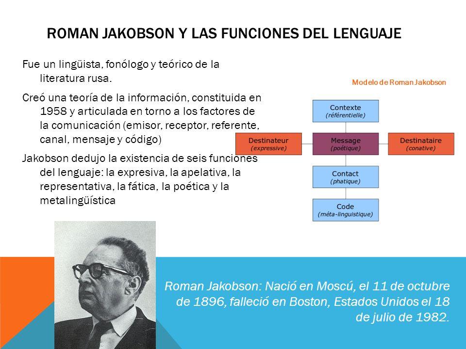 Fue un lingüista, fonólogo y teórico de la literatura rusa. Creó una teoría de la información, constituida en 1958 y articulada en torno a los factore