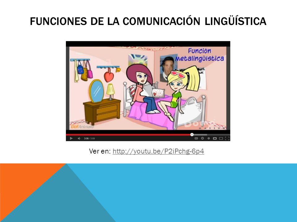 FUNCIONES DE LA COMUNICACIÓN LINGÜÍSTICA Ver en: http://youtu.be/P2iPchg-6p4http://youtu.be/P2iPchg-6p4