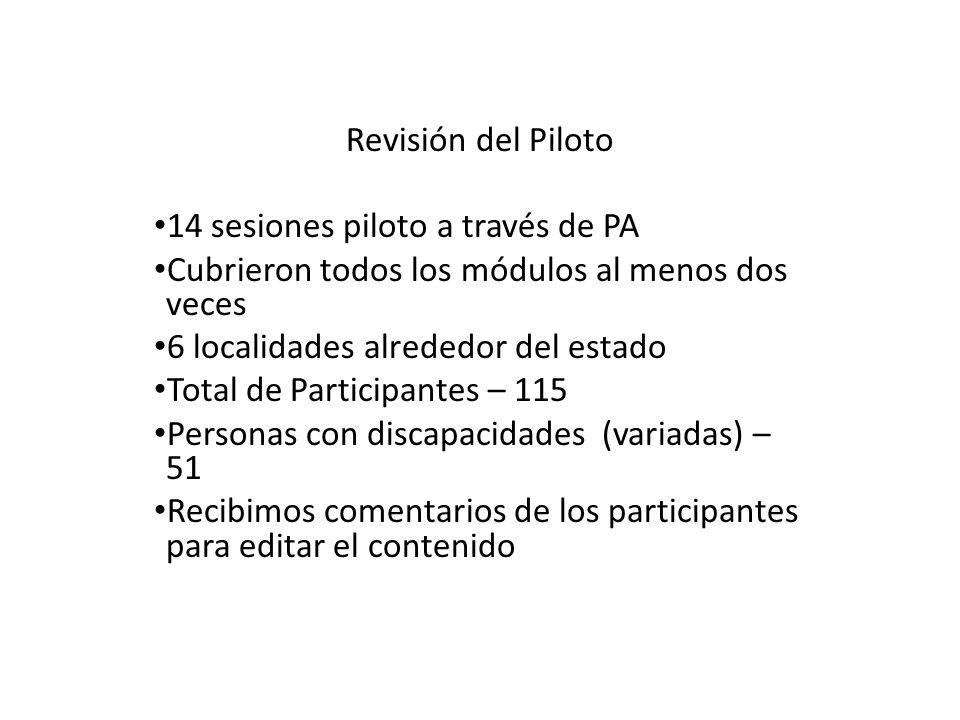 Revisión del Piloto 14 sesiones piloto a través de PA Cubrieron todos los módulos al menos dos veces 6 localidades alrededor del estado Total de Participantes – 115 Personas con discapacidades (variadas) – 51 Recibimos comentarios de los participantes para editar el contenido