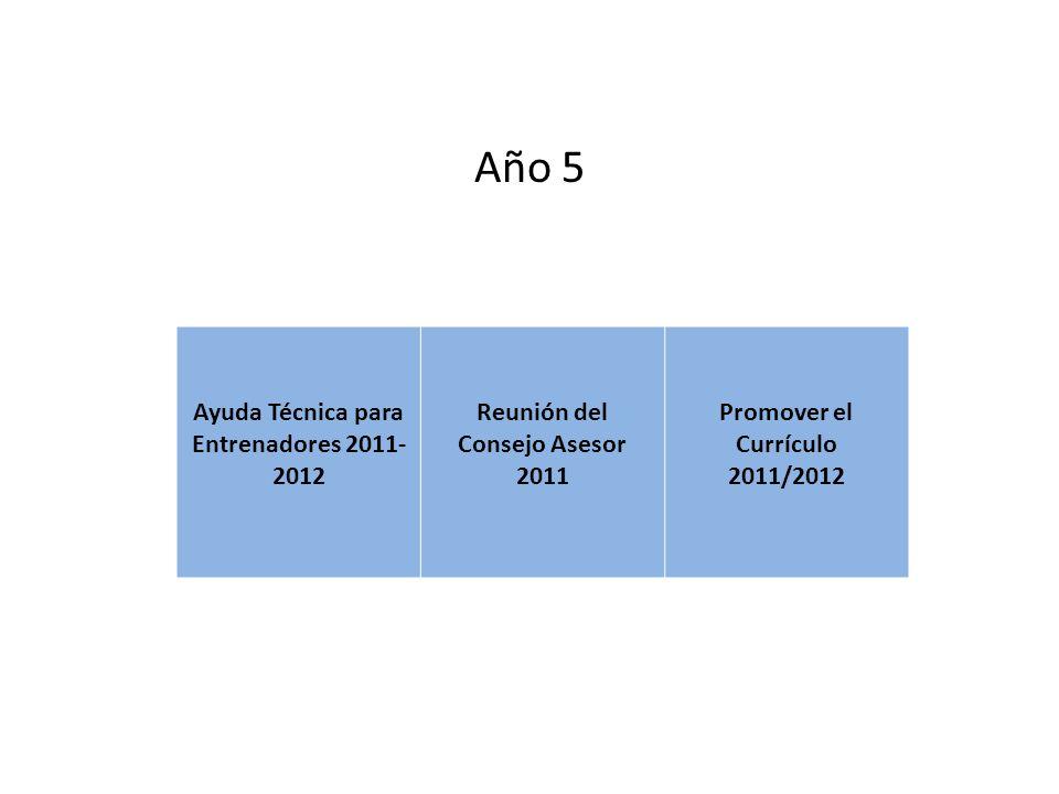 Año 5 Ayuda Técnica para Entrenadores 2011- 2012 Reunión del Consejo Asesor 2011 Promover el Currículo 2011/2012