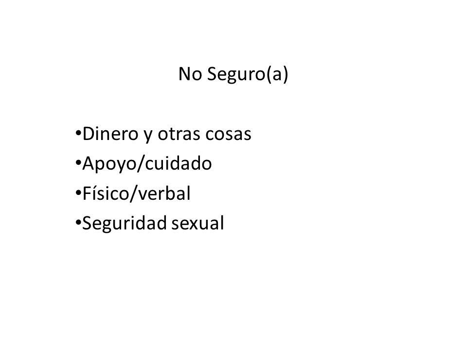 No Seguro(a) Dinero y otras cosas Apoyo/cuidado Físico/verbal Seguridad sexual