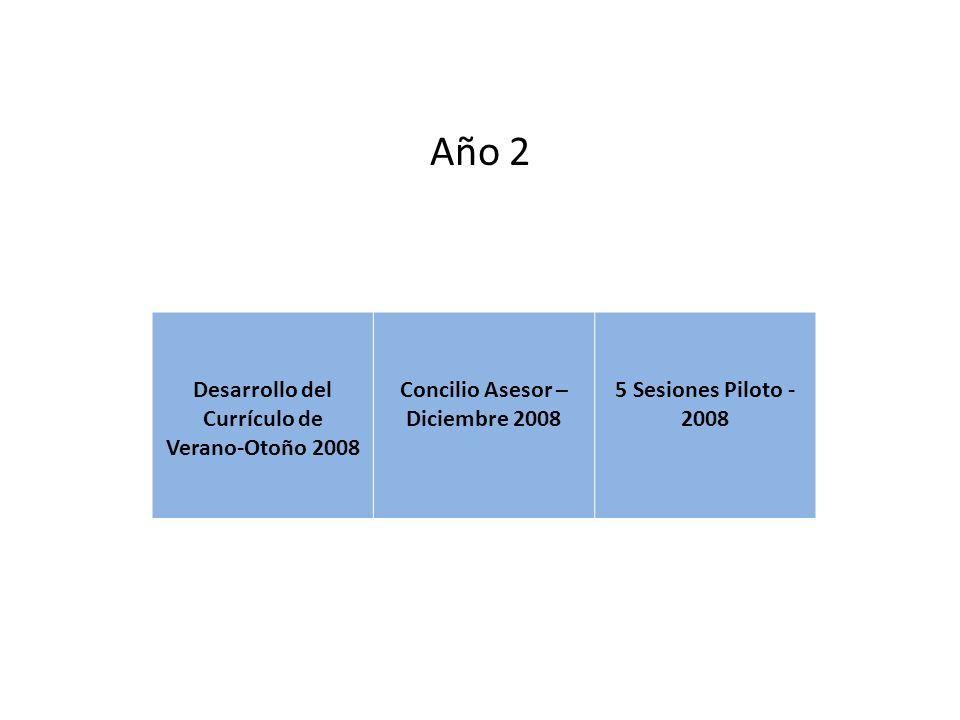 Año 2 Desarrollo del Currículo de Verano-Otoño 2008 Concilio Asesor – Diciembre 2008 5 Sesiones Piloto - 2008
