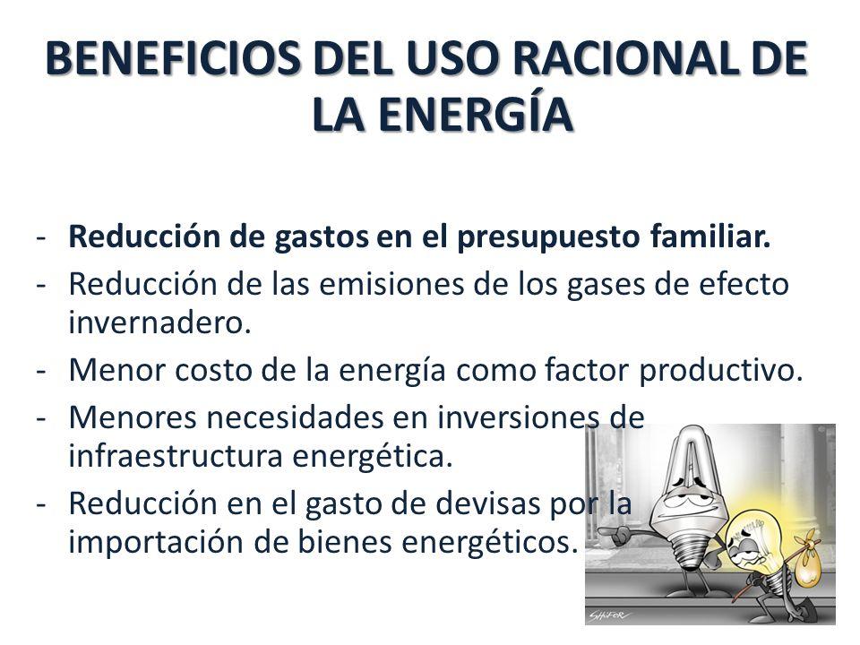 BENEFICIOS DEL USO RACIONAL DE LA ENERGÍA -Reducción de gastos en el presupuesto familiar.