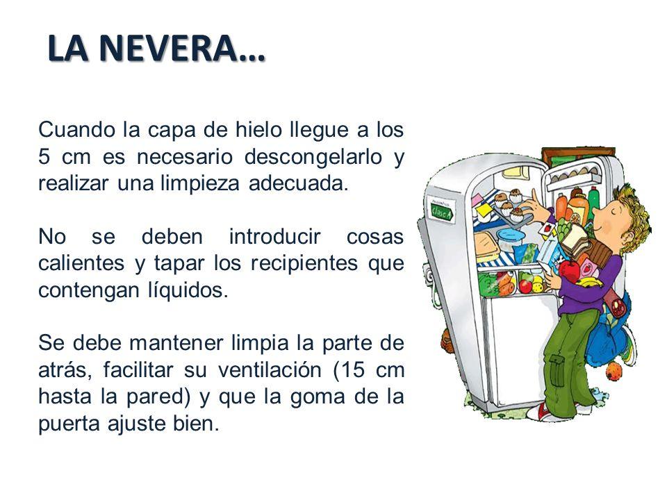 LA NEVERA… Cuando la capa de hielo llegue a los 5 cm es necesario descongelarlo y realizar una limpieza adecuada.