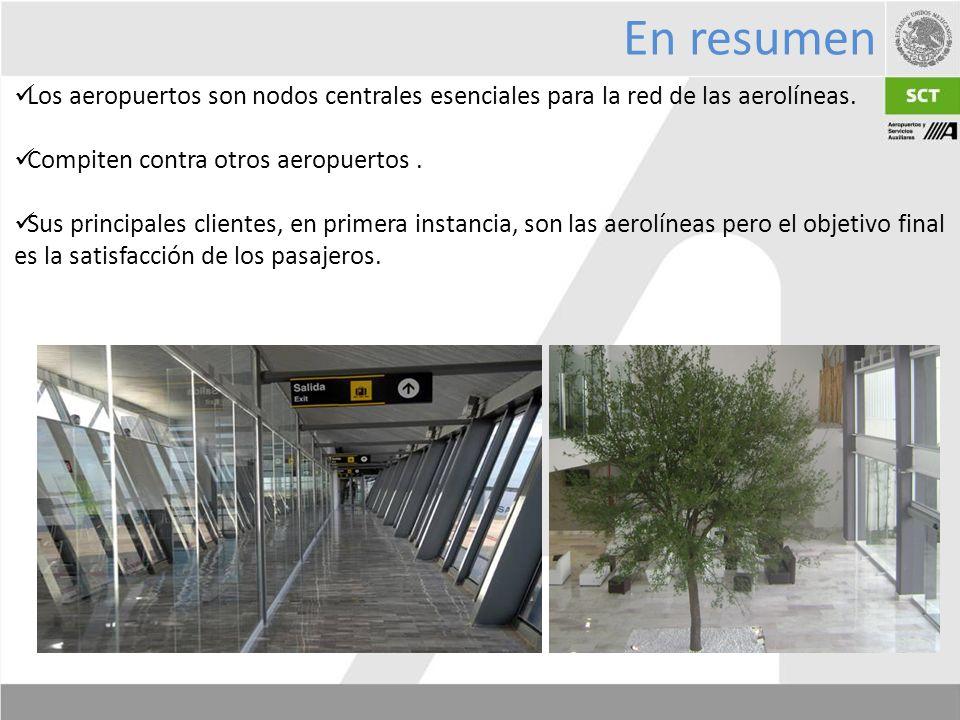 Los aeropuertos son nodos centrales esenciales para la red de las aerolíneas.