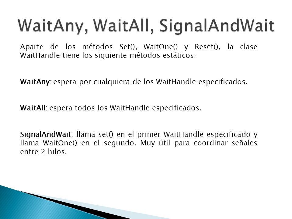Aparte de los métodos Set(), WaitOne() y Reset(), la clase WaitHandle tiene los siguiente métodos estáticos: WaitAny: espera por cualquiera de los Wai