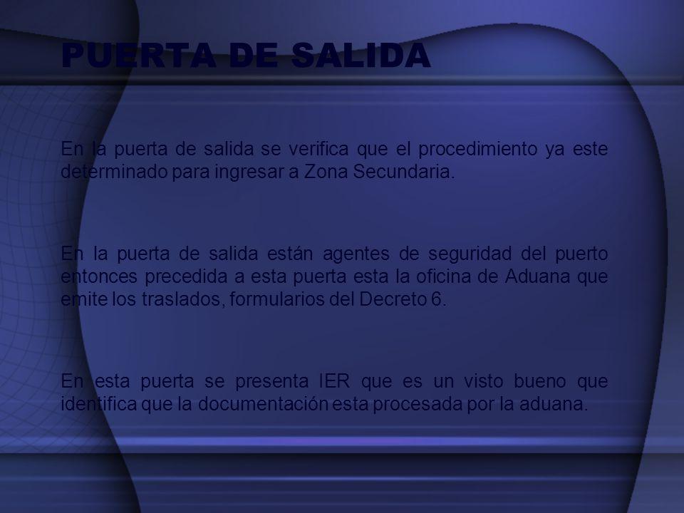 PUERTA DE SALIDA En la puerta de salida se verifica que el procedimiento ya este determinado para ingresar a Zona Secundaria.