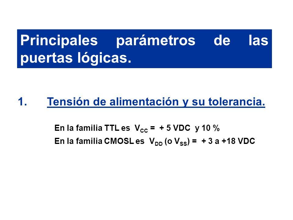 Principales parámetros de las puertas lógicas. 1.Tensión de alimentación y su tolerancia. En la familia TTL es V CC = + 5 VDC y 10 % En la familia CMO