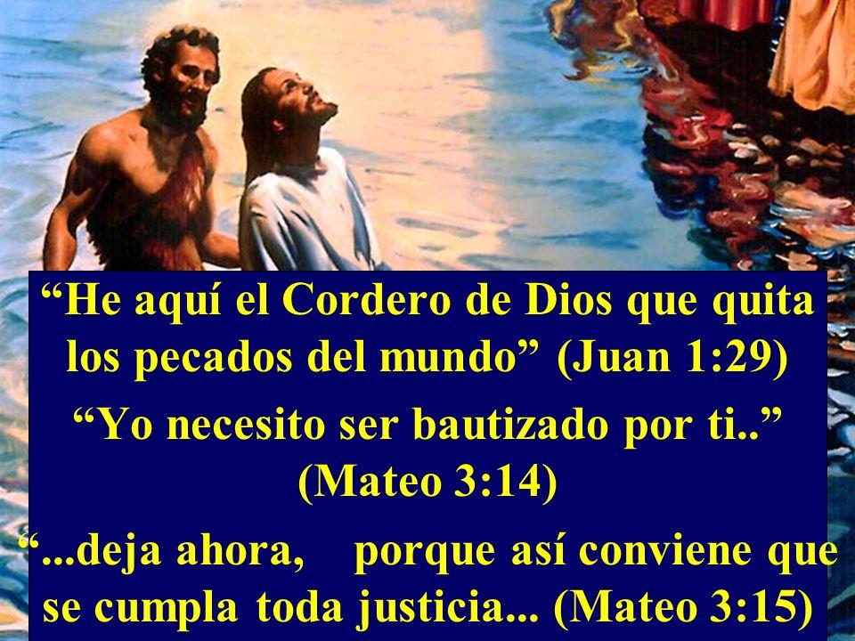 He aquí el Cordero de Dios que quita los pecados del mundo (Juan 1:29) Yo necesito ser bautizado por ti.. (Mateo 3:14)...deja ahora, porque así convie
