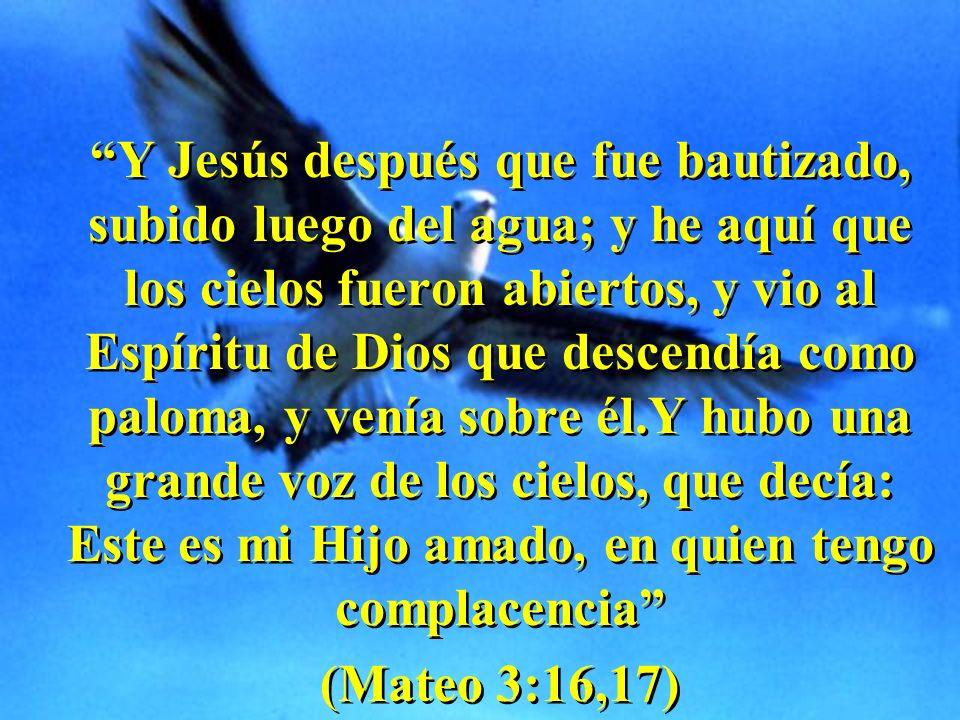 Y Jesús después que fue bautizado, subido luego del agua; y he aquí que los cielos fueron abiertos, y vio al Espíritu de Dios que descendía como palom