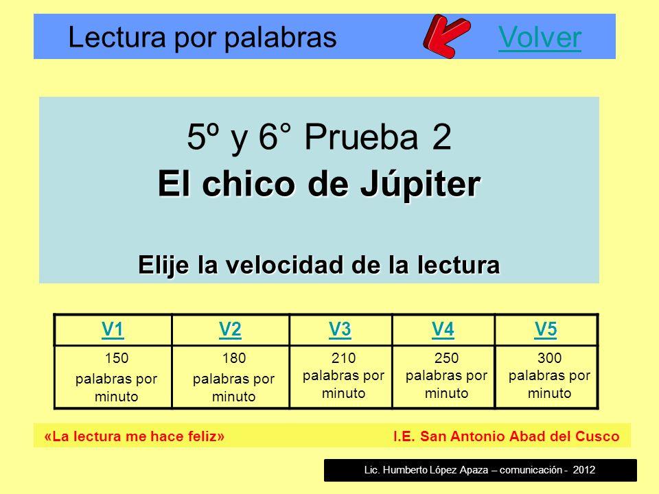 Lectura por palabras VolverVolver «La lectura me hace feliz» I.E. San Antonio Abad del Cusco V1 V2 V3 V4 V5 150 palabras por minuto 180 palabras por m
