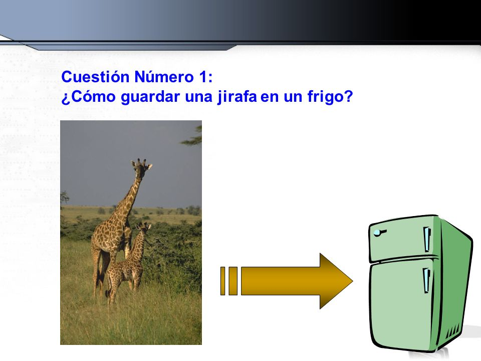 Cuestión Número 1: ¿Cómo guardar una jirafa en un frigo?
