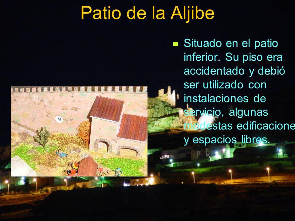 Patio de la Aljibe Situado en el patio inferior. Su piso era accidentado y debió ser utilizado con instalaciones de servicio, algunas modestas edifica