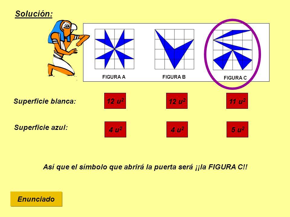 Solución: Superficie blanca: Así que el símbolo que abrirá la puerta será ¡¡la FIGURA C!! FIGURA AFIGURA B FIGURA C 11 u 2 12 u 2 Superficie azul: 5 u
