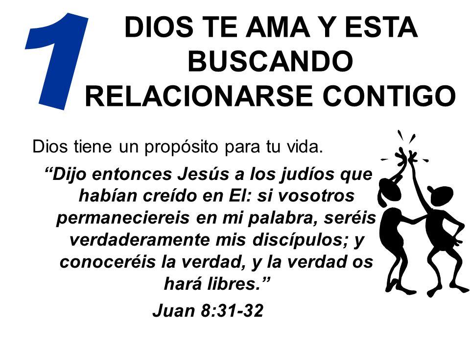 DIOS TE AMA Y ESTA BUSCANDO RELACIONARSE CONTIGO Dios tiene un propósito para tu vida. Dijo entonces Jesús a los judíos que habían creído en El: si vo