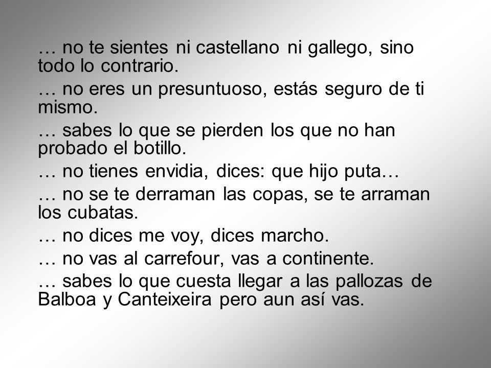 … no te sientes ni castellano ni gallego, sino todo lo contrario. … no eres un presuntuoso, estás seguro de ti mismo. … sabes lo que se pierden los qu