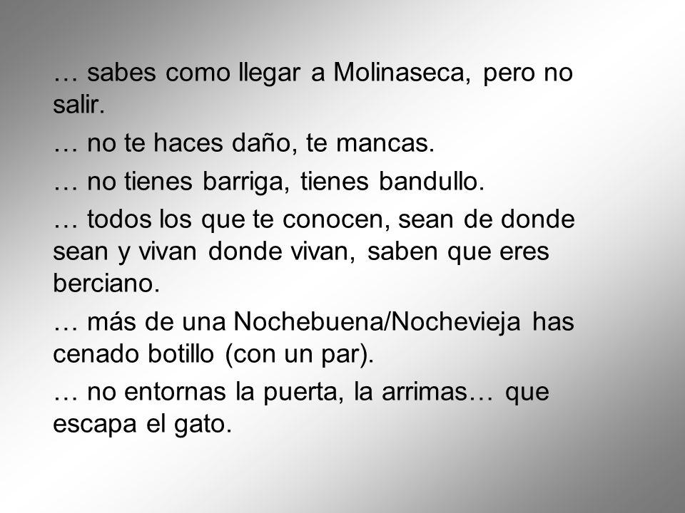 … sabes como llegar a Molinaseca, pero no salir. … no te haces daño, te mancas. … no tienes barriga, tienes bandullo. … todos los que te conocen, sean