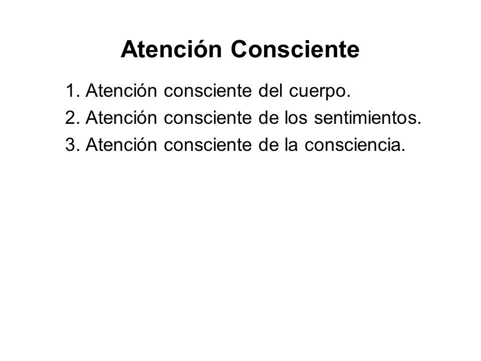 Atención Consciente 1. Atención consciente del cuerpo. 2. Atención consciente de los sentimientos. 3. Atención consciente de la consciencia.