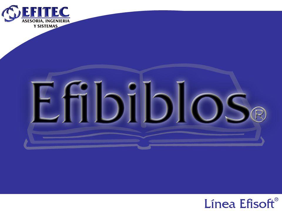 EfiBiblos ® Es un Sistema que emplea el motor de EfiControl (código de barras y RFID) para emplearlo en bibliotecas y llevar el control de los libros, los prestamos y las entradas y salidas de libros sin autorización.
