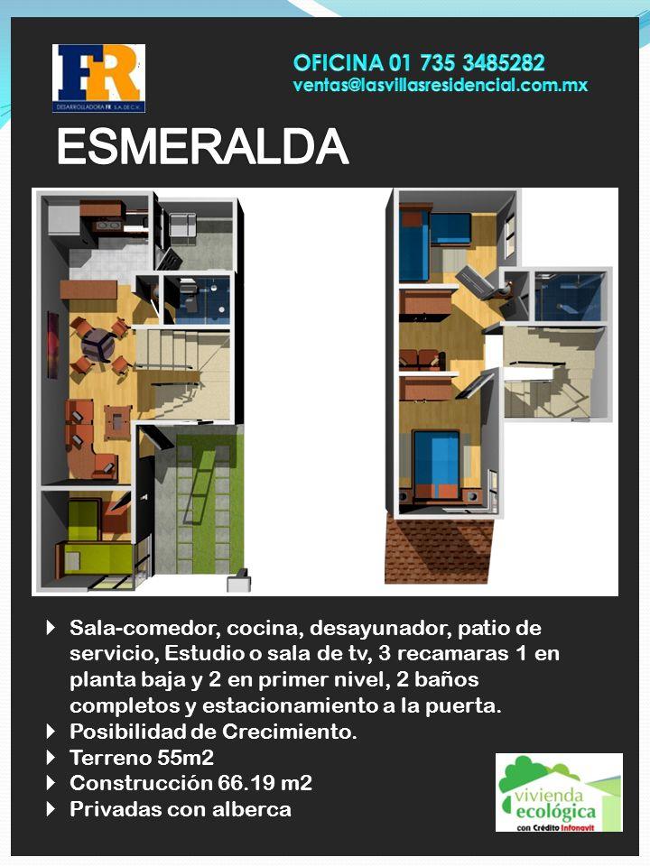 Sala-comedor, cocina, desayunador, patio de servicio, Estudio o sala de tv, 3 recamaras 1 en planta baja y 2 en primer nivel, 2 baños completos y esta