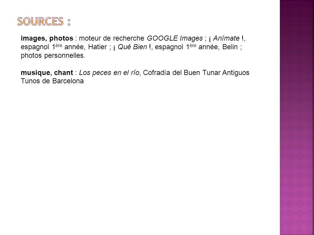 images, photos : moteur de recherche GOOGLE Images ; ¡ Anímate !, espagnol 1 ère année, Hatier ; ¡ Qué Bien !, espagnol 1 ère année, Belin ; photos pe