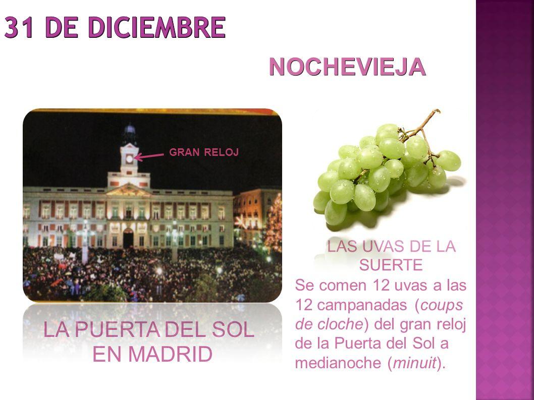 LA PUERTA DEL SOL EN MADRID LAS UVAS DE LA SUERTE NOCHEVIEJA Se comen 12 uvas a las 12 campanadas (coups de cloche) del gran reloj de la Puerta del So
