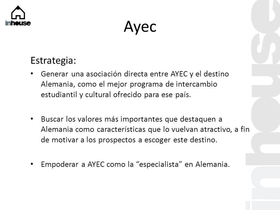 Ayec Estrategia: Generar una asociación directa entre AYEC y el destino Alemania, como el mejor programa de intercambio estudiantil y cultural ofrecido para ese país.