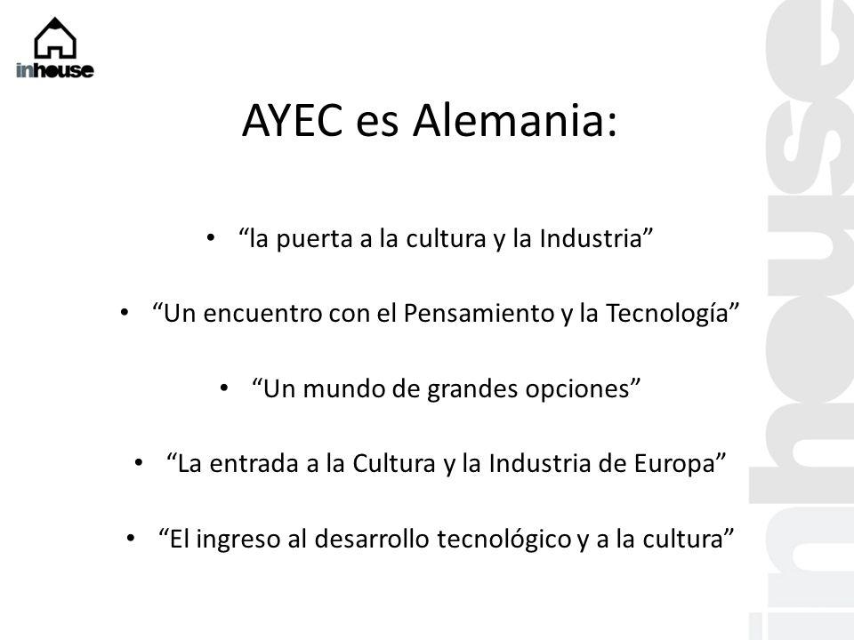 AYEC es Alemania: la puerta a la cultura y la Industria Un encuentro con el Pensamiento y la Tecnología Un mundo de grandes opciones La entrada a la Cultura y la Industria de Europa El ingreso al desarrollo tecnológico y a la cultura