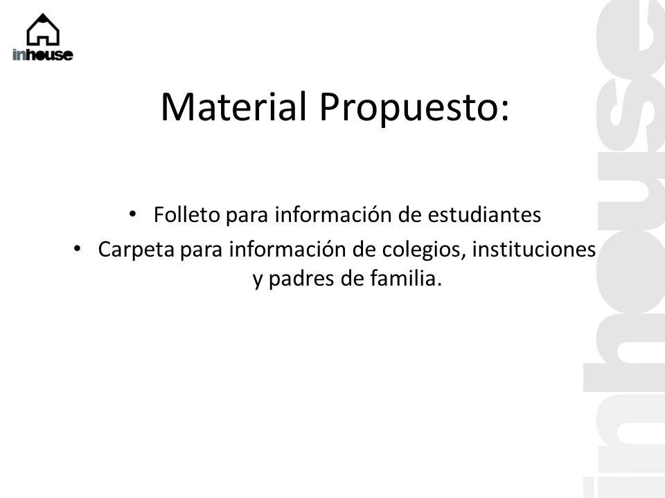 Material Propuesto: Folleto para información de estudiantes Carpeta para información de colegios, instituciones y padres de familia.
