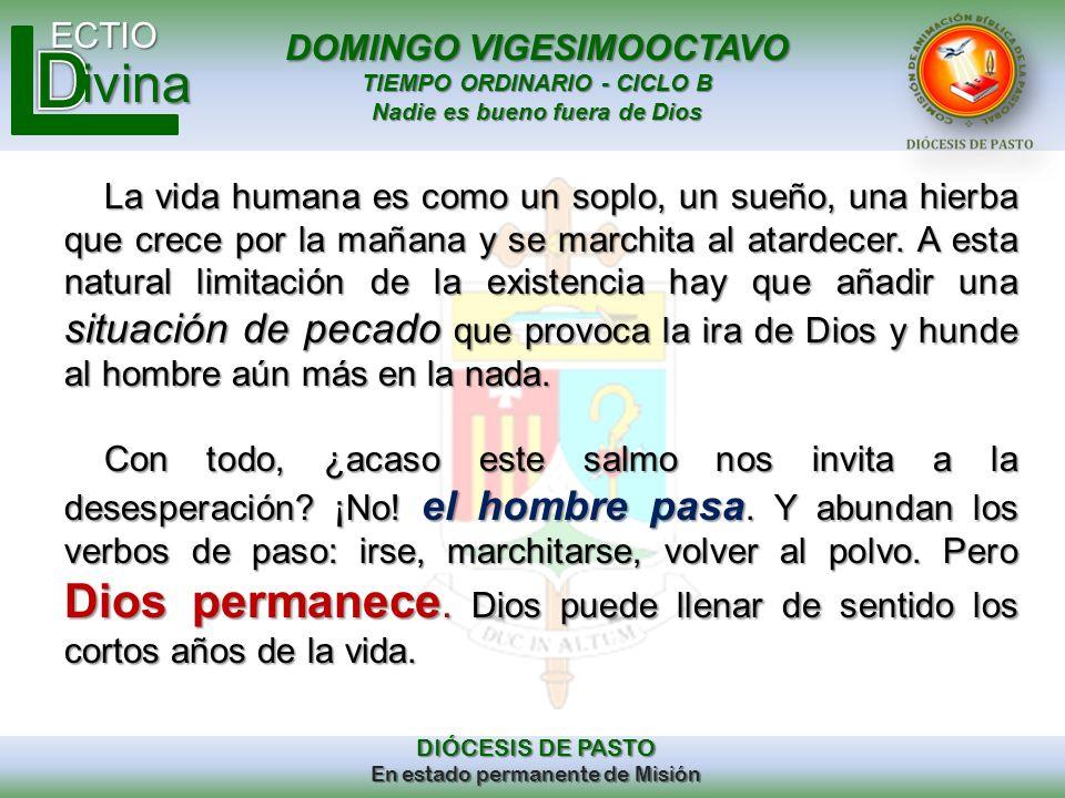 DOMINGO VIGESIMOOCTAVO TIEMPO ORDINARIO - CICLO B Nadie es bueno fuera de Dios ECTIO DIÓCESIS DE PASTO En estado permanente de Misión ivina La vida hu
