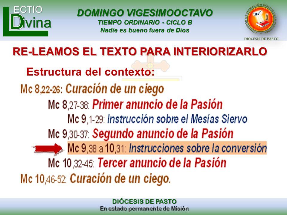 DOMINGO VIGESIMOOCTAVO TIEMPO ORDINARIO - CICLO B Nadie es bueno fuera de Dios ECTIO DIÓCESIS DE PASTO En estado permanente de Misión ivina RE-LEAMOS