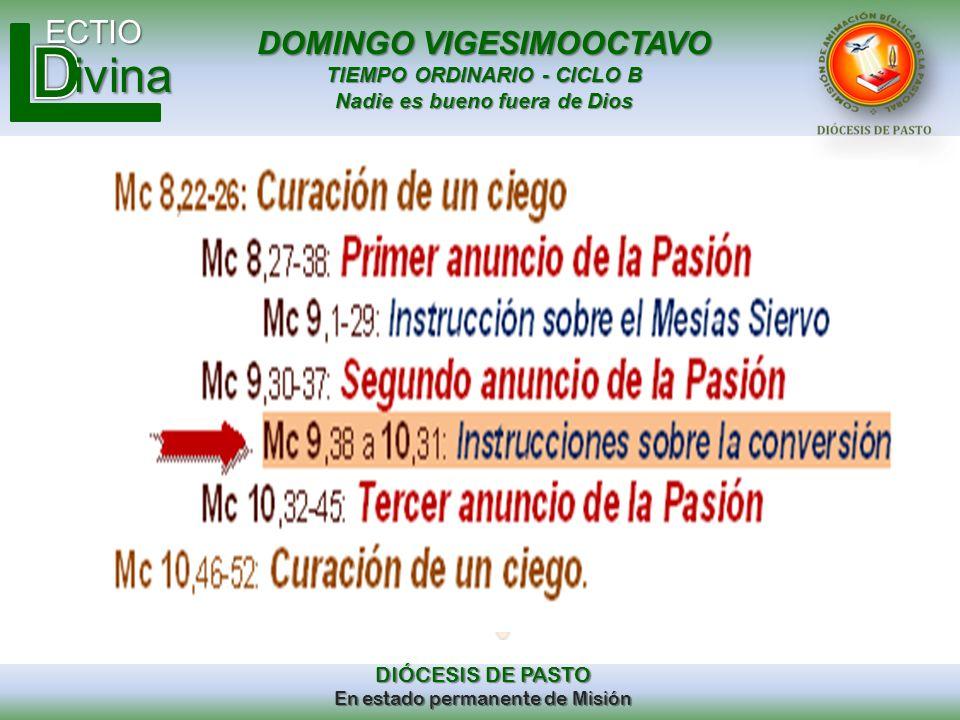 DOMINGO VIGESIMOOCTAVO TIEMPO ORDINARIO - CICLO B Nadie es bueno fuera de Dios ECTIO DIÓCESIS DE PASTO En estado permanente de Misión ivina