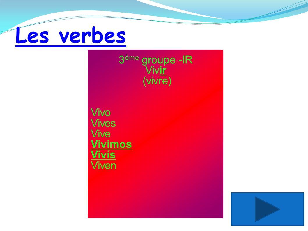 Les verbes 3 ème groupe -IR Vivir (vivre) Vivo Vives Vive Vivimos Vivís Viven