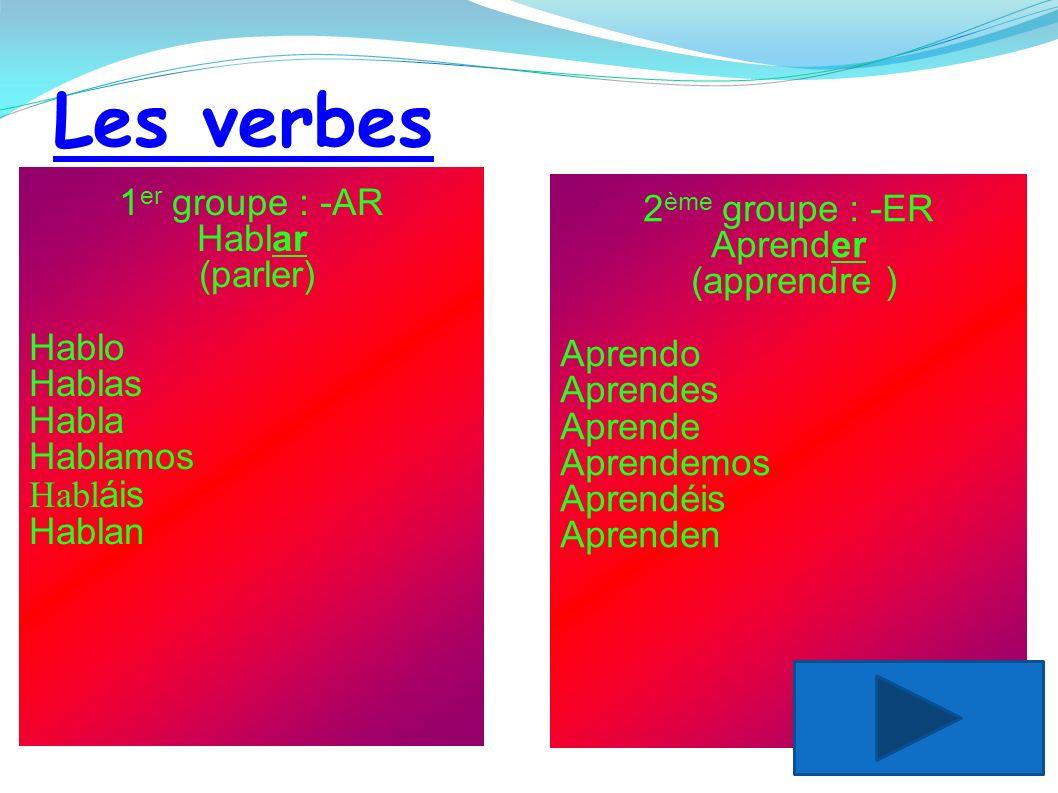Les verbes 2 ème groupe : -ER Aprender (apprendre ) Aprendo Aprendes Aprende Aprendemos Aprendéis Aprenden 1 er groupe : -AR Hablar (parler) Hablo Hab