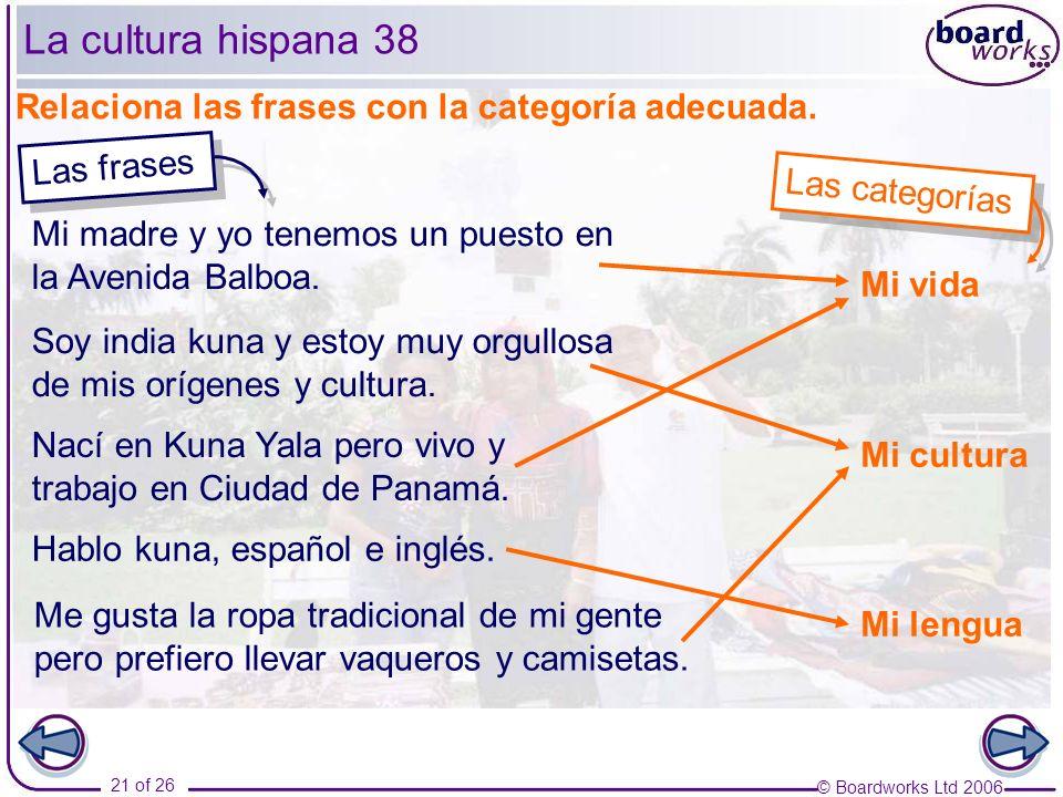 © Boardworks Ltd 2006 21 of 26 La cultura hispana 38 Relaciona las frases con la categoría adecuada.