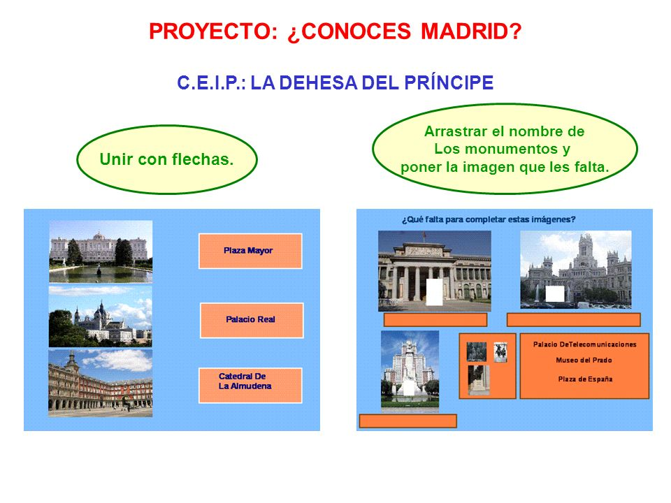 PROYECTO: ¿CONOCES MADRID? C.E.I.P.: LA DEHESA DEL PRÍNCIPE Unir con flechas. Arrastrar el nombre de Los monumentos y poner la imagen que les falta.