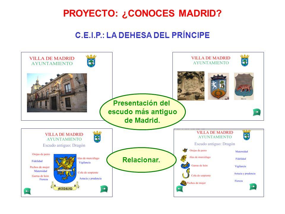 Presentación del escudo más antiguo de Madrid. Relacionar. PROYECTO: ¿CONOCES MADRID? C.E.I.P.: LA DEHESA DEL PRÍNCIPE