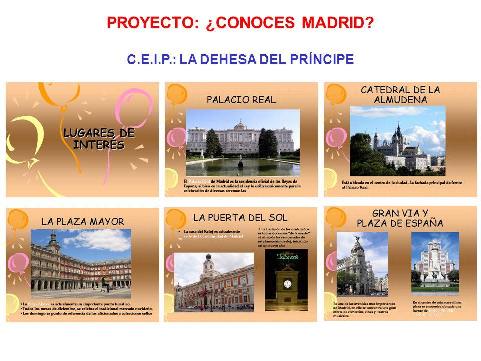 Juego de mesa. PROYECTO: ¿CONOCES MADRID? C.E.I.P.: LA DEHESA DEL PRÍNCIPE