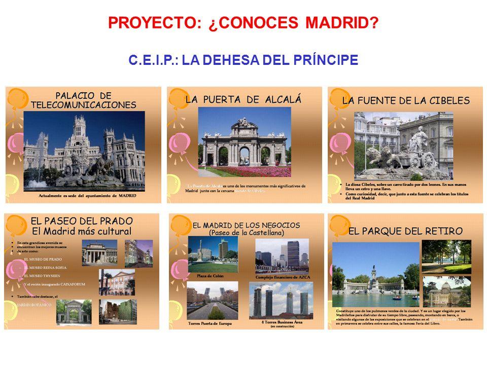 PROYECTO: ¿CONOCES MADRID? C.E.I.P.: LA DEHESA DEL PRÍNCIPE