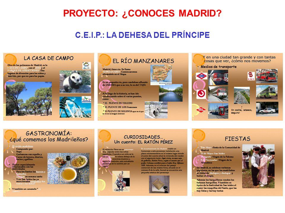 PROYECTO: ¿CONOCES MADRID? C.E.I.P.: LA DEHESA DEL PRÍNCIPE Escoger la respuesta correcta