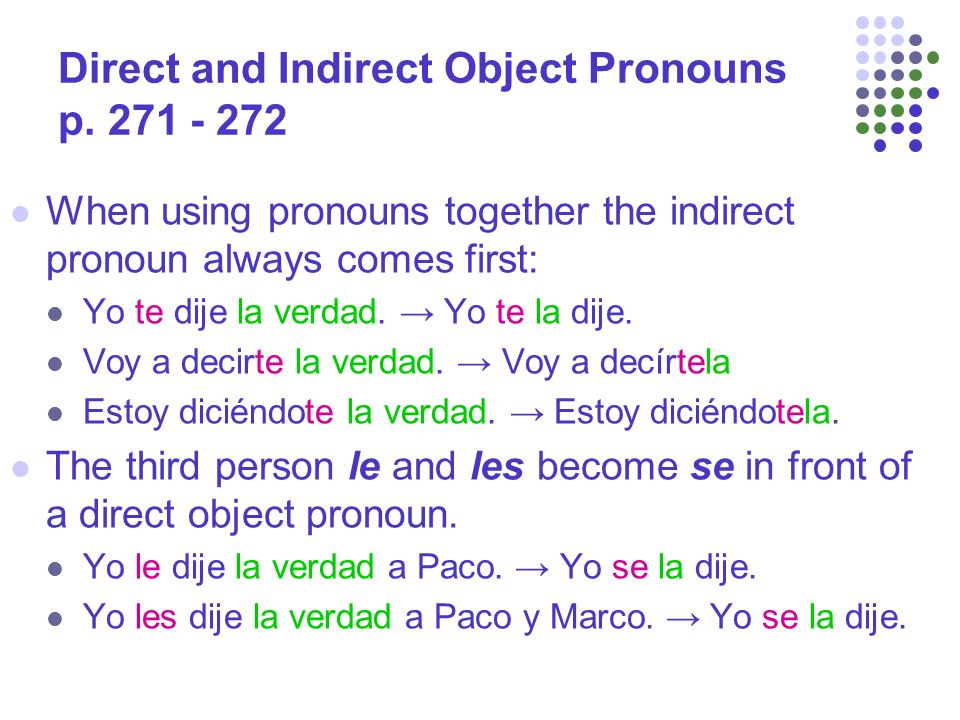 Direct and Indirect Object Pronouns p.