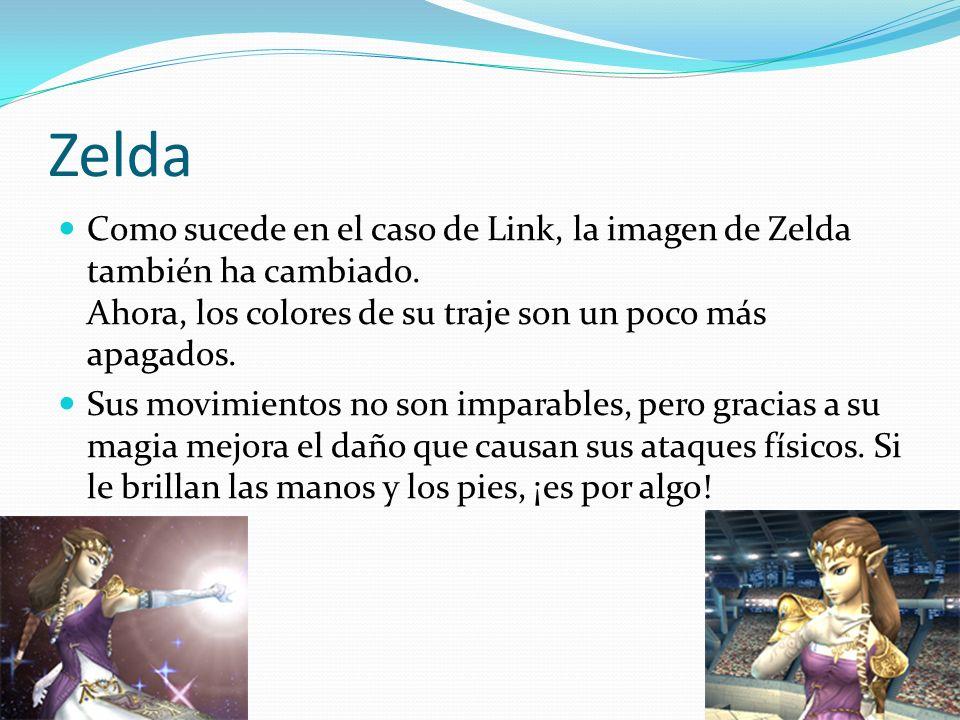 Zelda Como sucede en el caso de Link, la imagen de Zelda también ha cambiado. Ahora, los colores de su traje son un poco más apagados. Sus movimientos